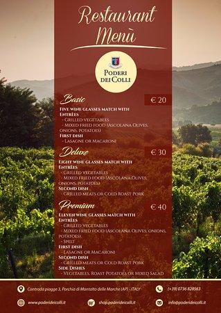 Montalto delle Marche, Italia: Three different menù for lunch and dinner.