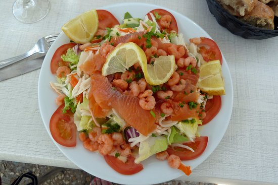 Loix, France: salmon and prawn salad