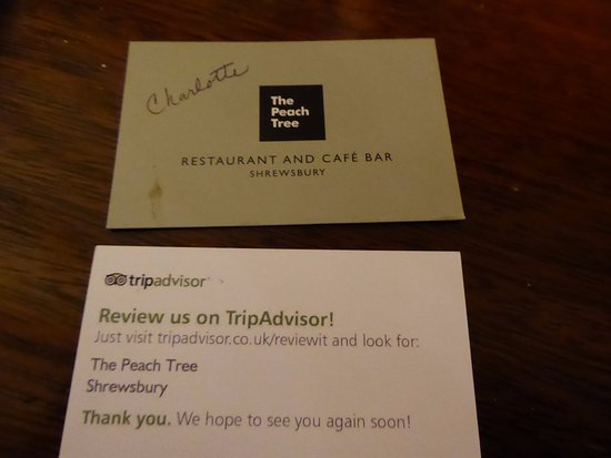 Business card picture of the peach tree restaurant shrewsbury the peach tree restaurant business card colourmoves