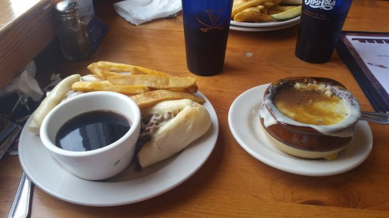 Scottsville, VA: Lunch selection: French onion soup and French dip.