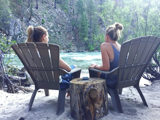 Lowman, ID: Enjoying camp and the river