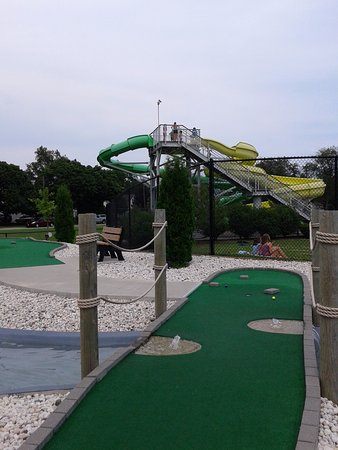 Manitowoc, WI: View of Waterslides from Mini golf area