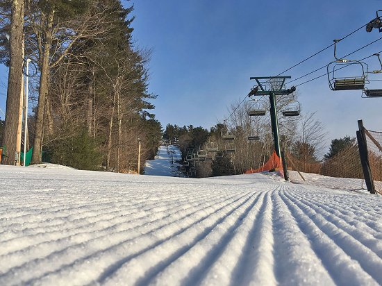 Madison, NH: Bluebird day on the slopes of King Pine Ski Area