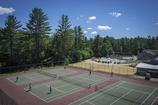 Freedom, NH: Tennis courts and pools at Danforth Bay Camping & RV Resort