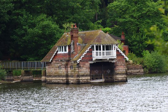 Rudyard Lake Steam Railway: One of the houses protruding into Rudyard Lake.