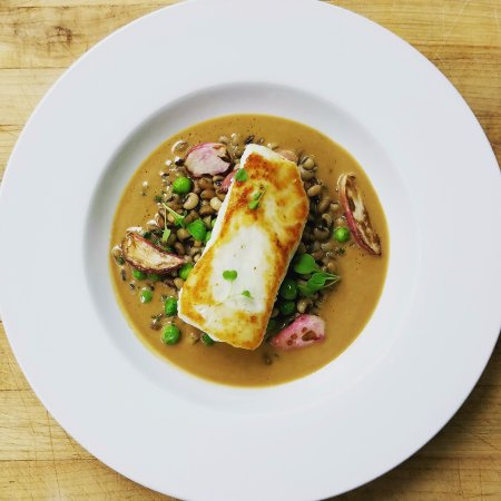 Joshua Wilton House: Seared halibut with pea trio, caramelized radish & turner ham brown butter