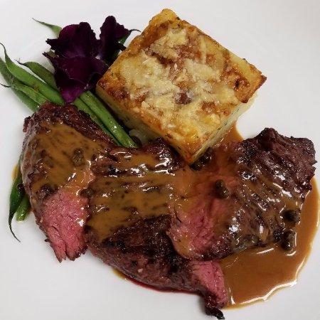 Joshua Wilton House: Hanger steak with potato gratin, haricot vert & sauce au poivre