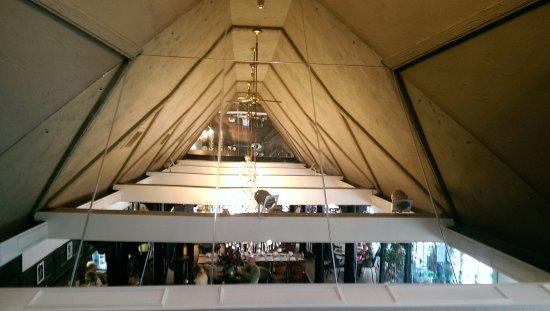 Batley, UK: Zucchinis unusual ceiling