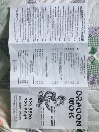 Saint Clair, MI: Take Out Menu as of July 2017