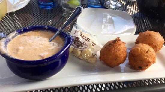 East Greenwich, RI: Lobster Bisque and Clam Cakes Appetizer