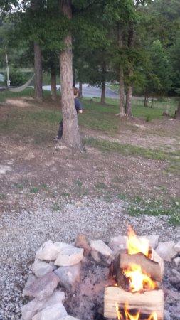 Campton, KY: campfire among trees