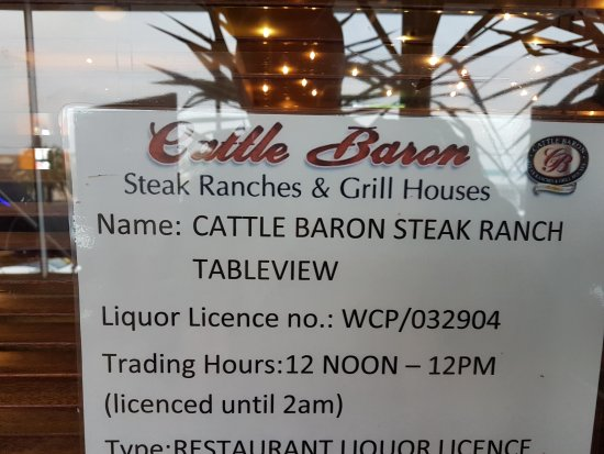Cattle Baron Tableview Blouberg: Nazwa