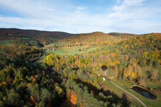 Quechee, VT: Fall foliage with balloon shadow
