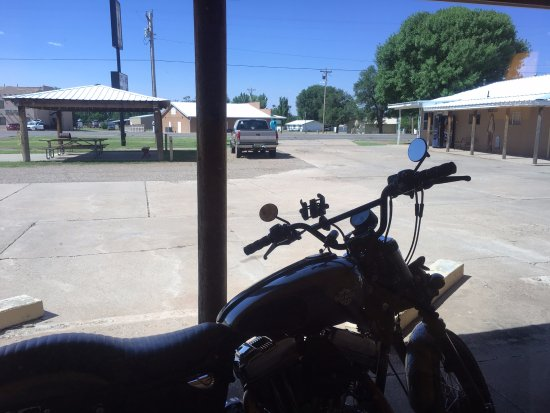 """Fort Sumner, NM: View from the room, my """"iron horse"""" right outside the window."""