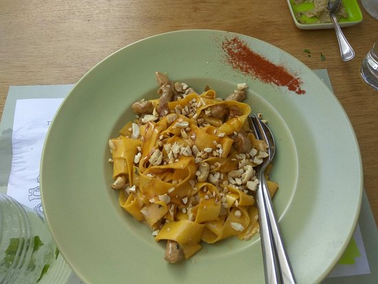 Homemade pasta with pork tenderloin - Picture of A little