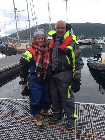 Lyngen Municipality, Norway: Goed gekleed tegen de kou. Aan alles was gedacht.