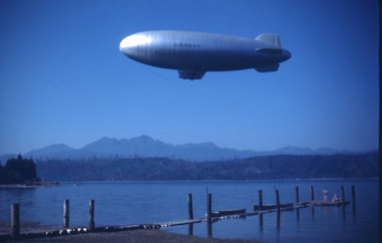 Union, WA: US Navy Airship above Alderbrook dock 1940's
