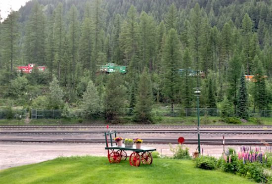 Essex, MT: Hillside looking out. Notice the rental Caboose cars up there.