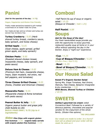 Essex, CT: PANINI, SOUP & SALAD MENU