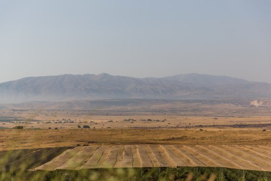 Merom Golan: Amazing views looing at Kibbutz growing fields along Syrian boarder