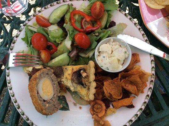 Hartfield, UK: I had the quiche, my husband had the scotch egg.
