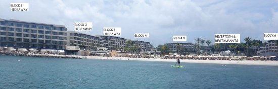 Cap Estate, St. Lucia: hotel layout as viewed from the beach. Diamond Club isn't shown but is to the right of the photo