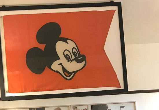 Marceline, MO: Mickey Mouse flag donated to the museum.