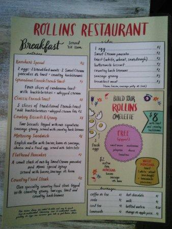 Rollins, MT: Breakfast menu