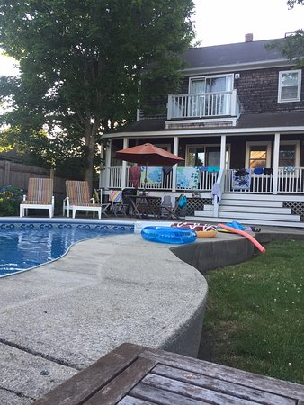 Lionel Champlin Guest House: backyard view of Valley St residence (with pool noodles!)