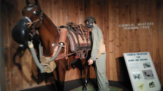 Fort Riley, KS: Gas mask for a horse in WWII