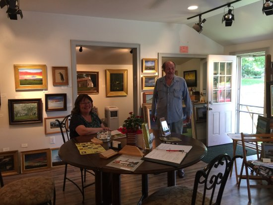 Gardiner, NY: The view outside and inside. The lovely hosts--the artist and his wife. A drawing by the artist'