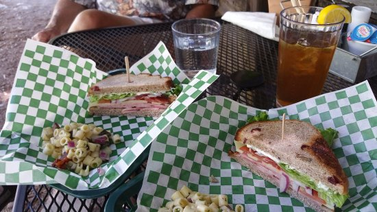Volcano, CA: Ham and swiss sandwich with pasta salad - split portions
