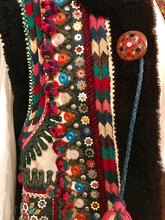 Ukraianian Museum of Canada: Detail of embroidery and button on man's garment