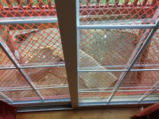 Three Rivers, CA: Inside cabin showing demolished balcony