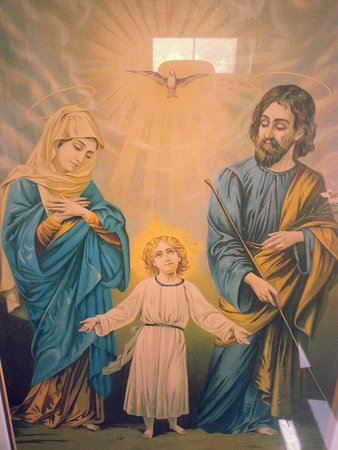 Jerome, AZ: Painting depicting the Child Jesus, Mary, and Joseph, the Holy Family of Nazareth.