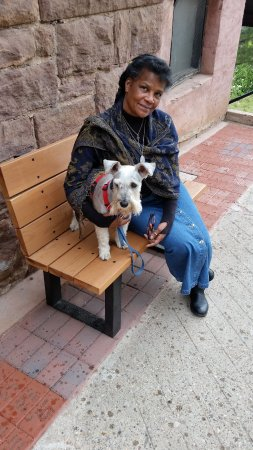 MissRonnie and canine friend visiting Holy Family Catholic Church in Jerome AZ.