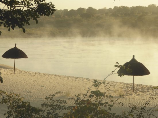 Sesheke, Zambia: Most over the river just after sunrise
