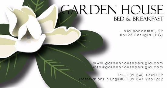 Garden House B&B: Logo B&B Garden House con giardino arredato e dati per contatti