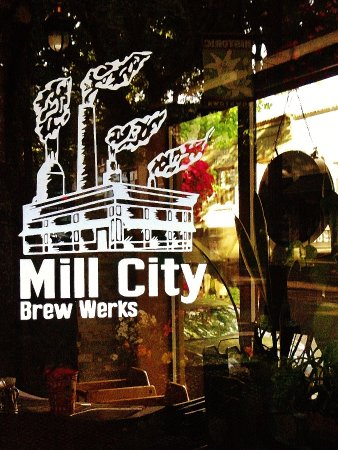 Mill City Brew Werks : Image painted on door window