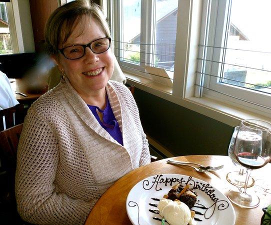 "Union, WA: Anita with her ""Happy Birthday"" dessert plate"