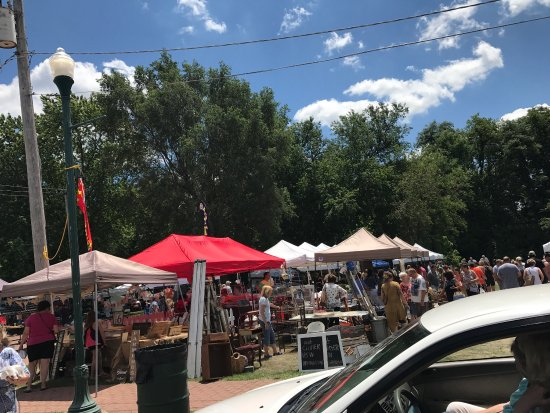 Morris, IL: Lots and lots of different crafts, jewelry, food, produce, antiques.  Great spot! Lots of shade.