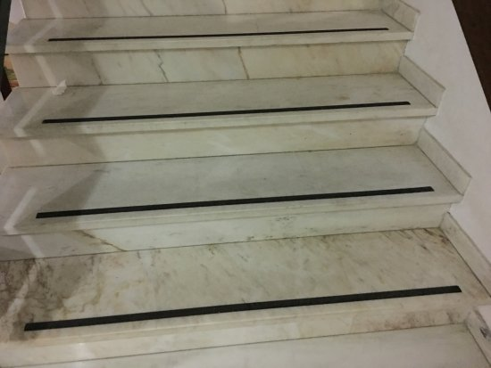 Showing The Anti Slip Embedded Strips In Marble Stair Picture