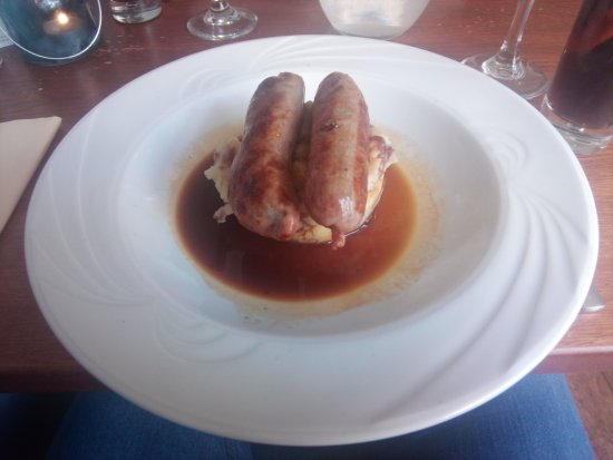 The Lime House: Wild boar sausage and mash.