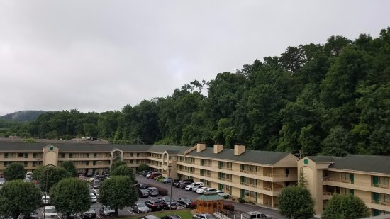 """Comfort Inn & Suites at Dollywood Lane: The """"mountain view"""" room. The hotel you see is the Quality Suites next door."""