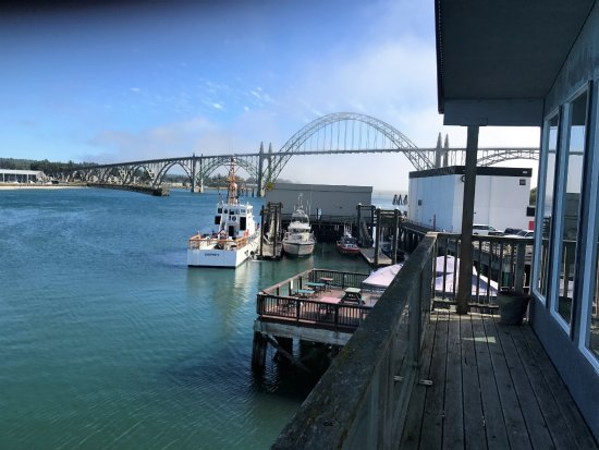 Newport's Historic Bayfront: The iconic Newport Bay Bridge from the deck of a Bayfront condo.