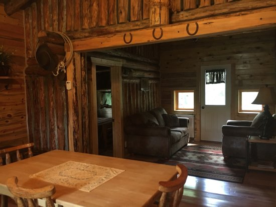 South Fork Mountain Lodge: Cowboy Cabin is creekside on back deck! BEAUTIFUL!!