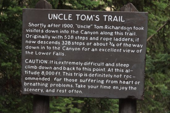 Uncle Tom's Trail : Believe this sign!!