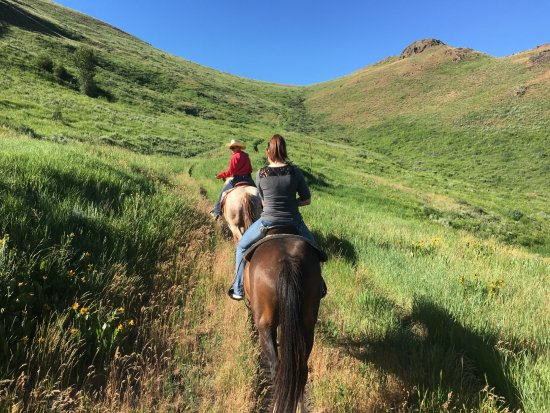 Sun Valley Stables: Heading up the mountain trail.