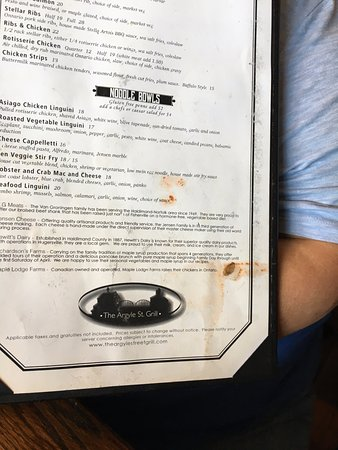 Caledonia, Canadá: another page of the disgusting menu my wife had handed to her by server.