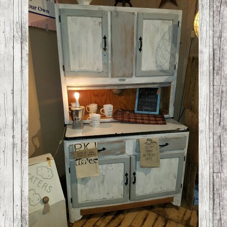 Staunton, VA: Upcycled hoosier cabinet in distressed  grey and white. $274.99